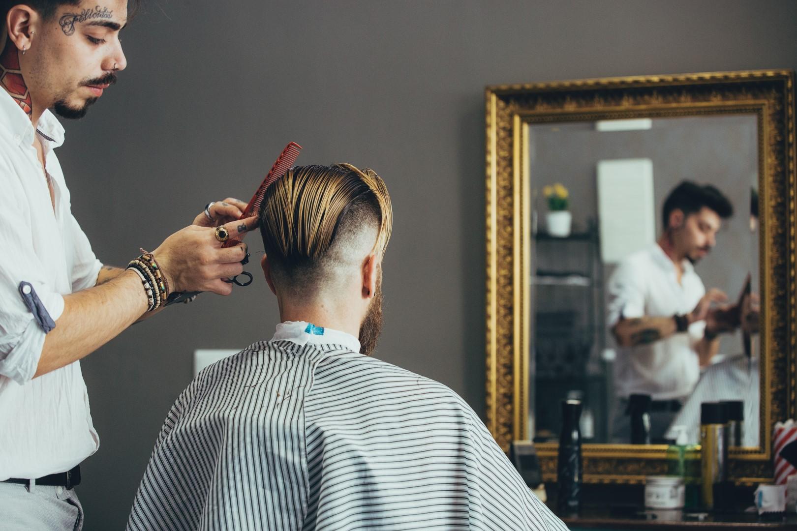 Haircut in barber shop